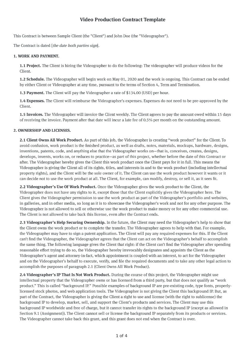 Video Production Contract Template