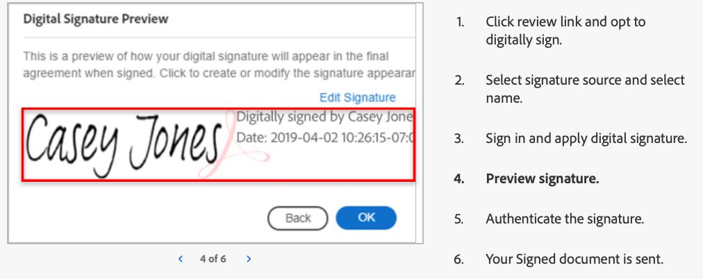 Digital signature preview