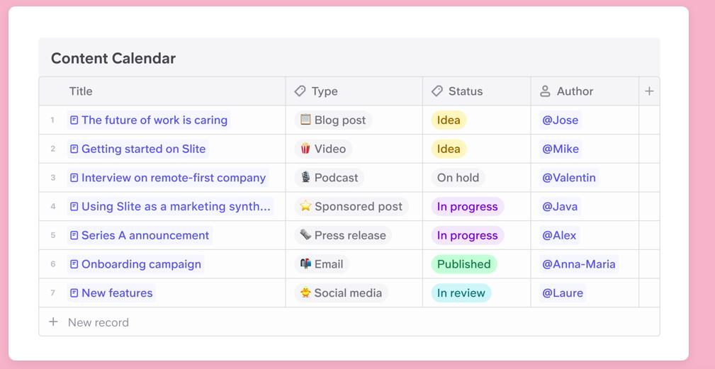 Slite content calendar knowledge hub