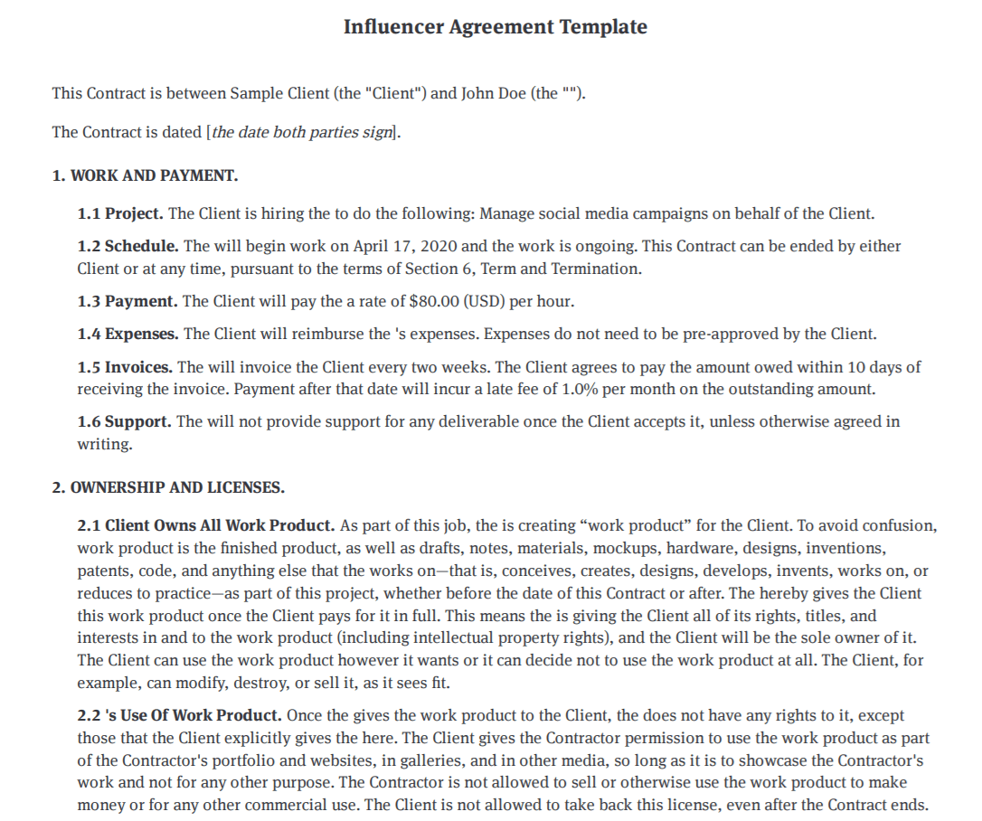 Bonsai influencer contract template