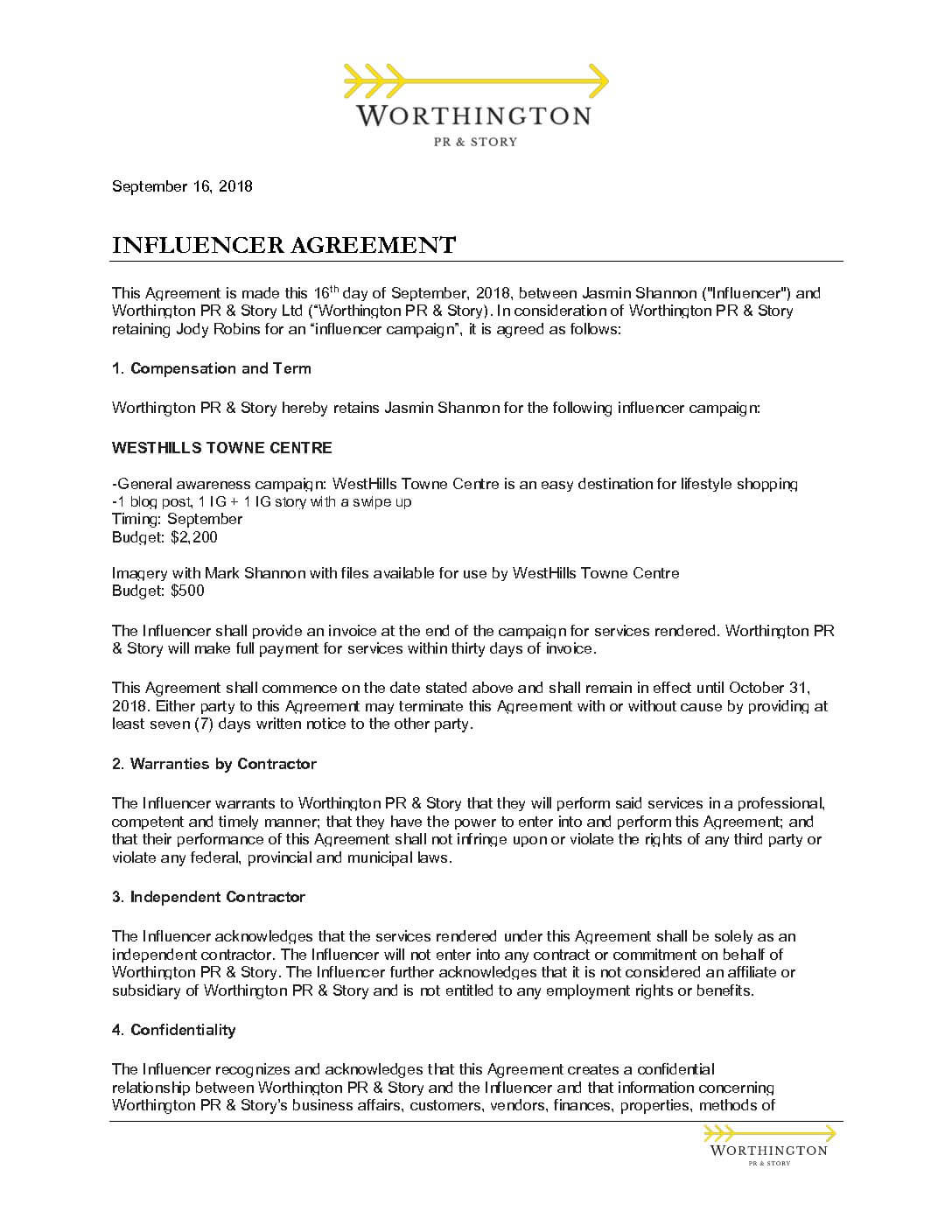 Influencer Contract Template PDF