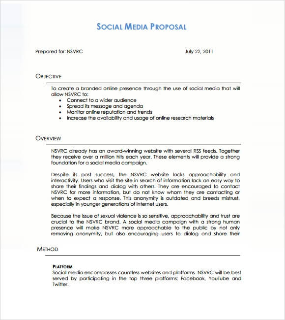 Social Media Marketing Proposal Template Sample PDF