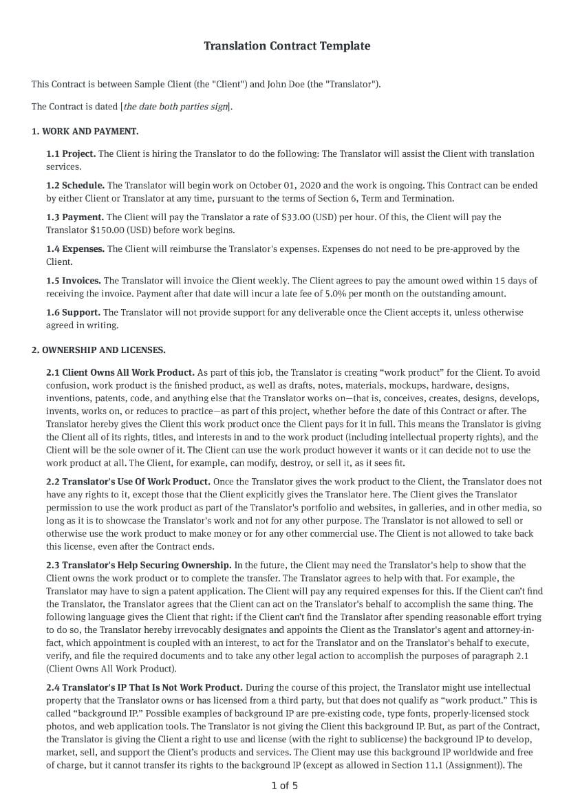 Translation Contract Template