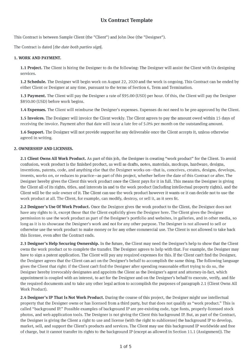 UX Contract Template