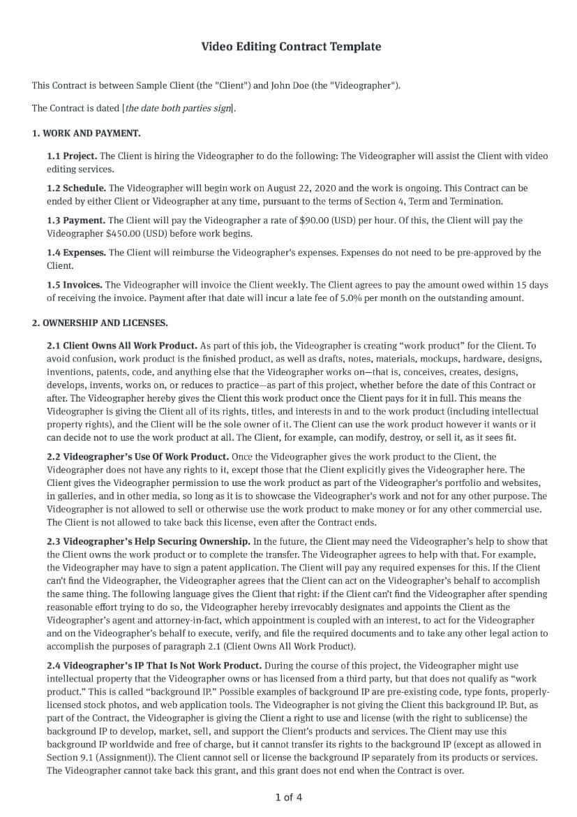 Video Editing Contract Template