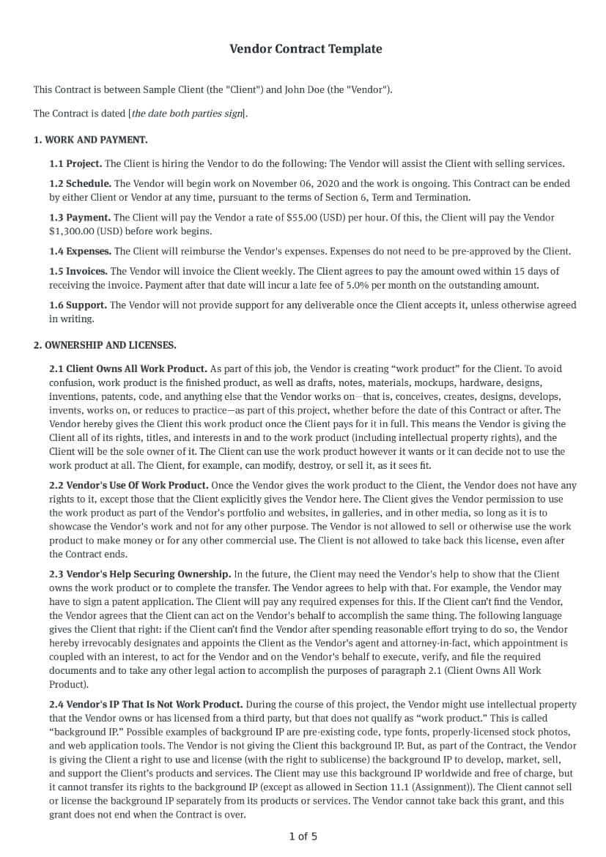 Vendor Contract Template