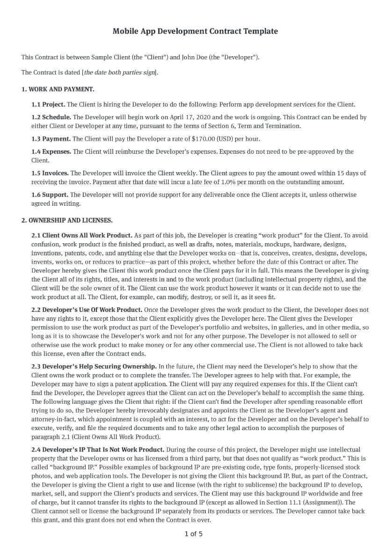 Mobile App Development Contract Template