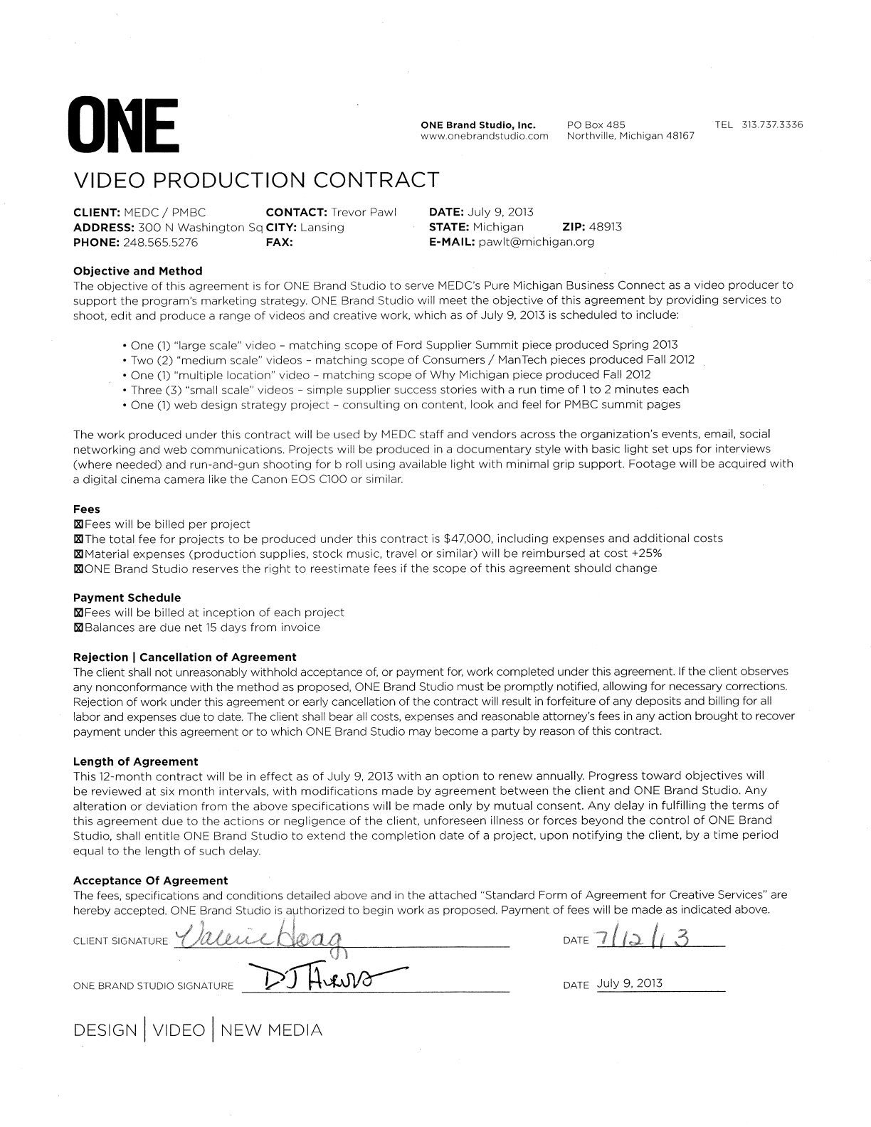 Video Editing Contract Template Sample