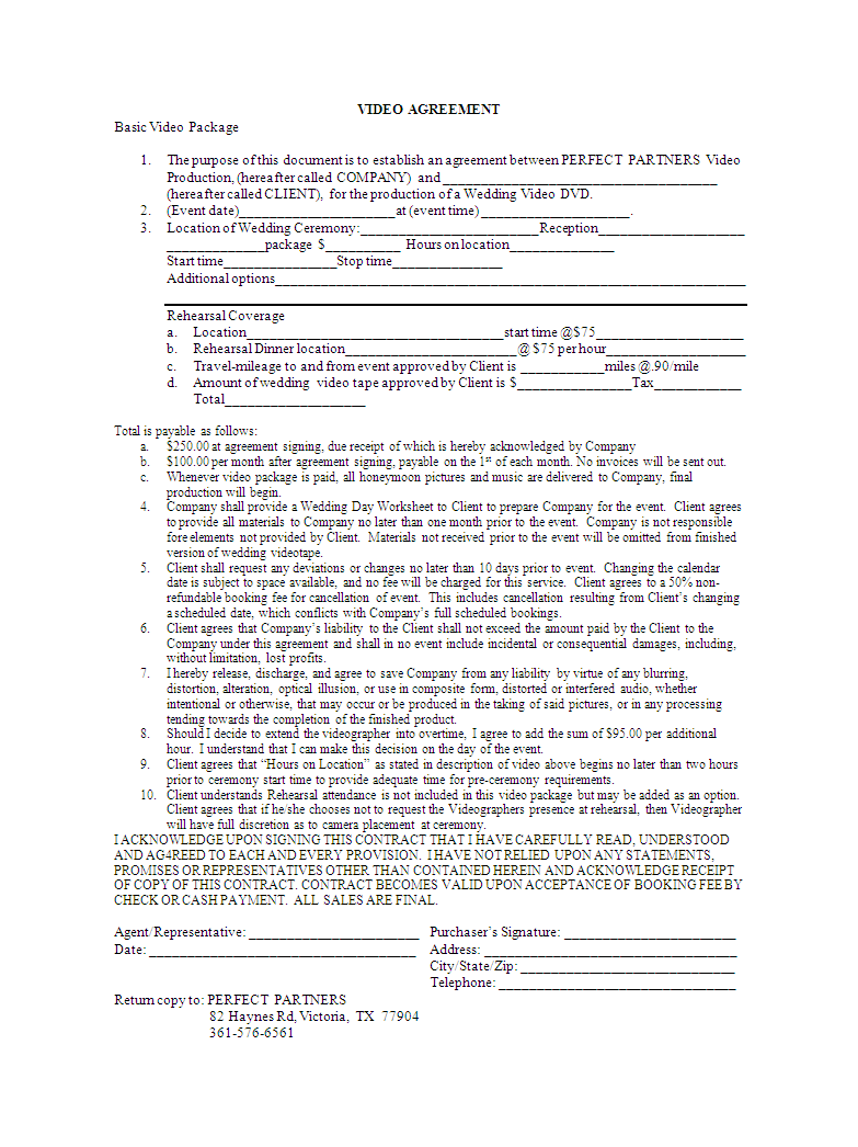Video Editing Contract Template Example