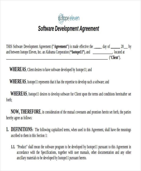 Software Development Contract Template Sample