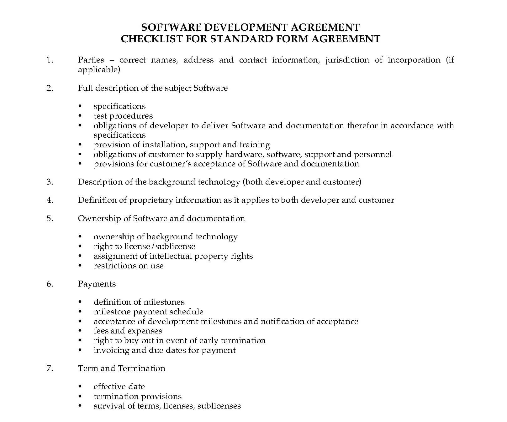 Software Development Contract Template Example
