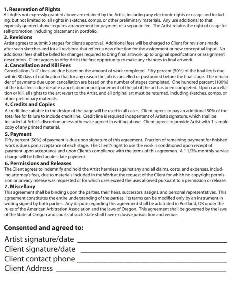 Illustration Contract Template Sample