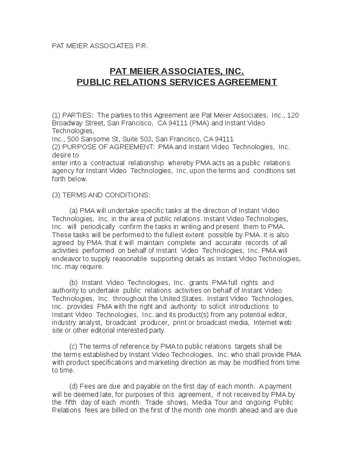 Public Relations Contract Template Example