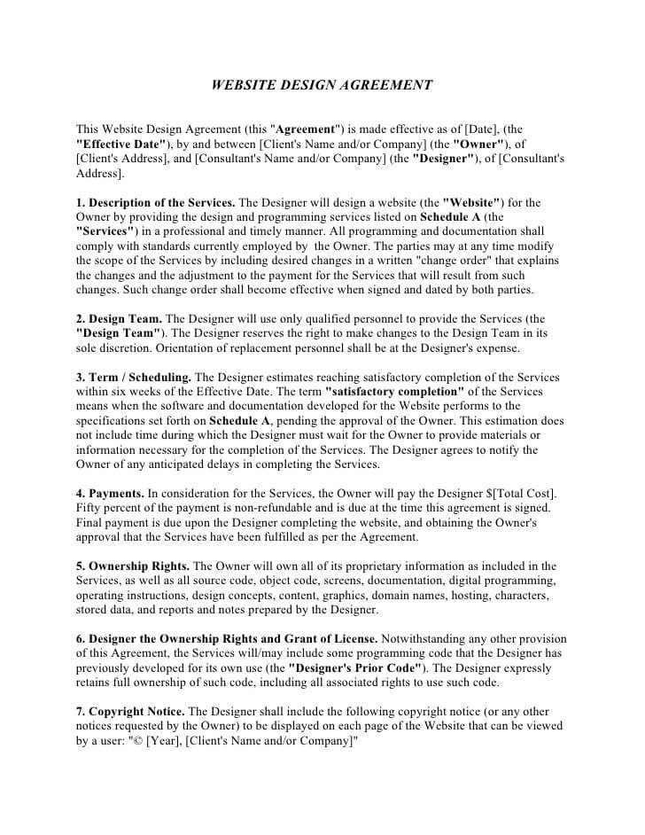 Web Design Contract Template Sample