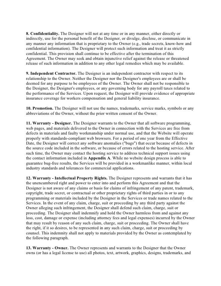 Web Design Contract Template Example