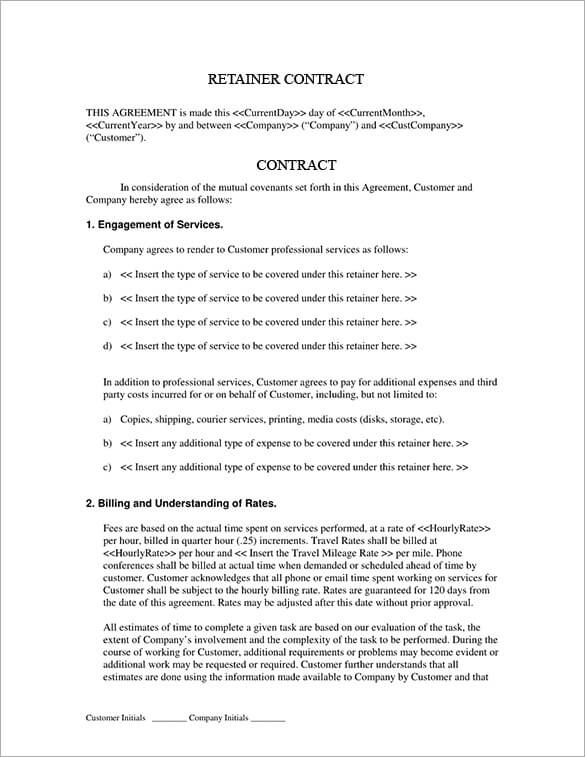 Monthly Retainer Contract Template Sample