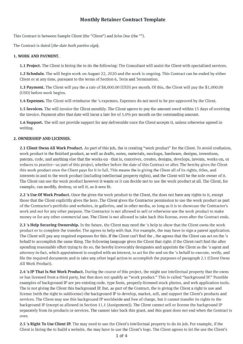 Monthly Retainer Contract Template