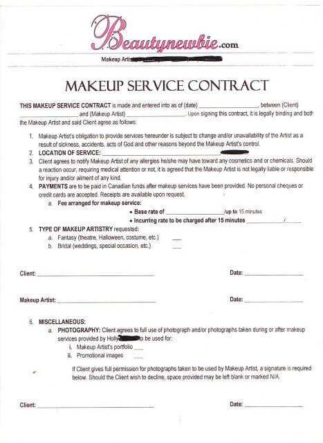 Makeup Artist Contract Template