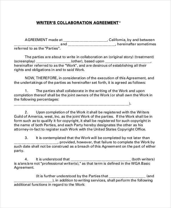 Writer Agreement Template Sample