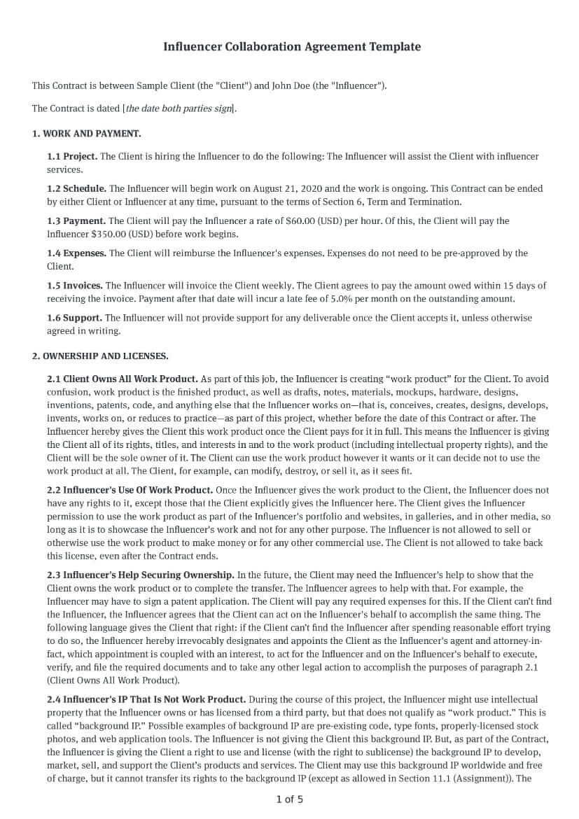 Influencer Collaboration Agreement Template