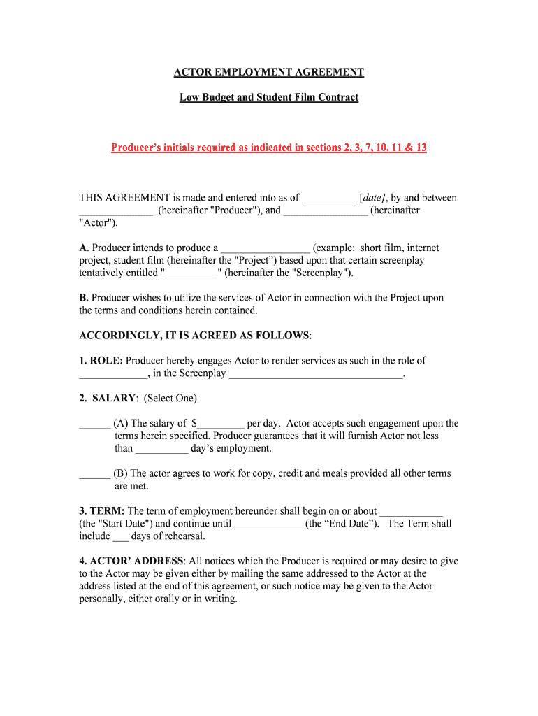 Actor Contract Template PDF