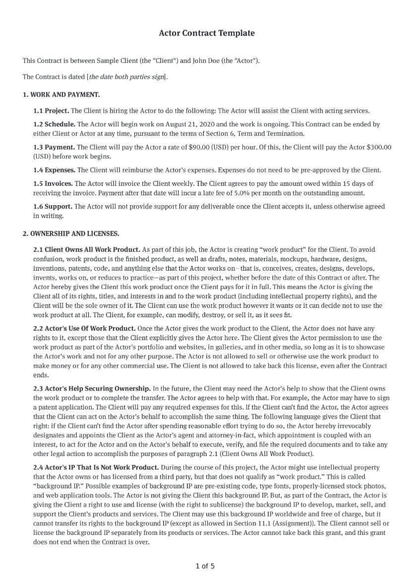 Actor Contract Template