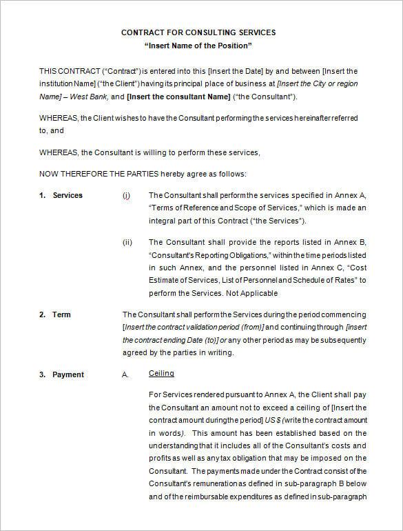Consultant Contract Template PDF