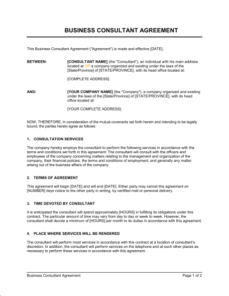 Marketing Consultant Agreement Template PDF
