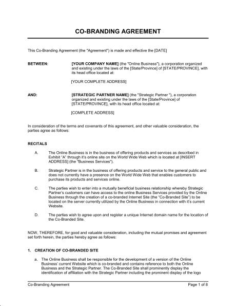 Branding Contract Template Sample
