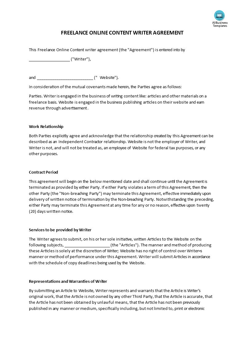 Writer Agreement Template