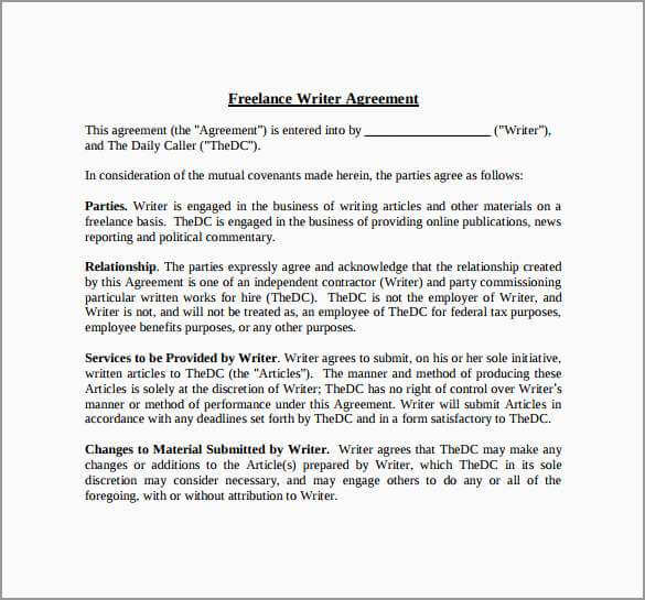 Writer Agreement Template Sample PDF