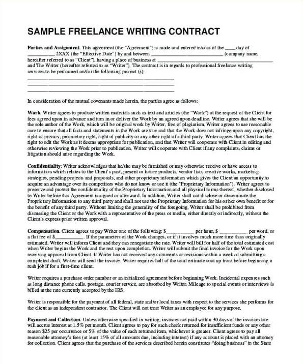 Writer Agreement Template Example PDF