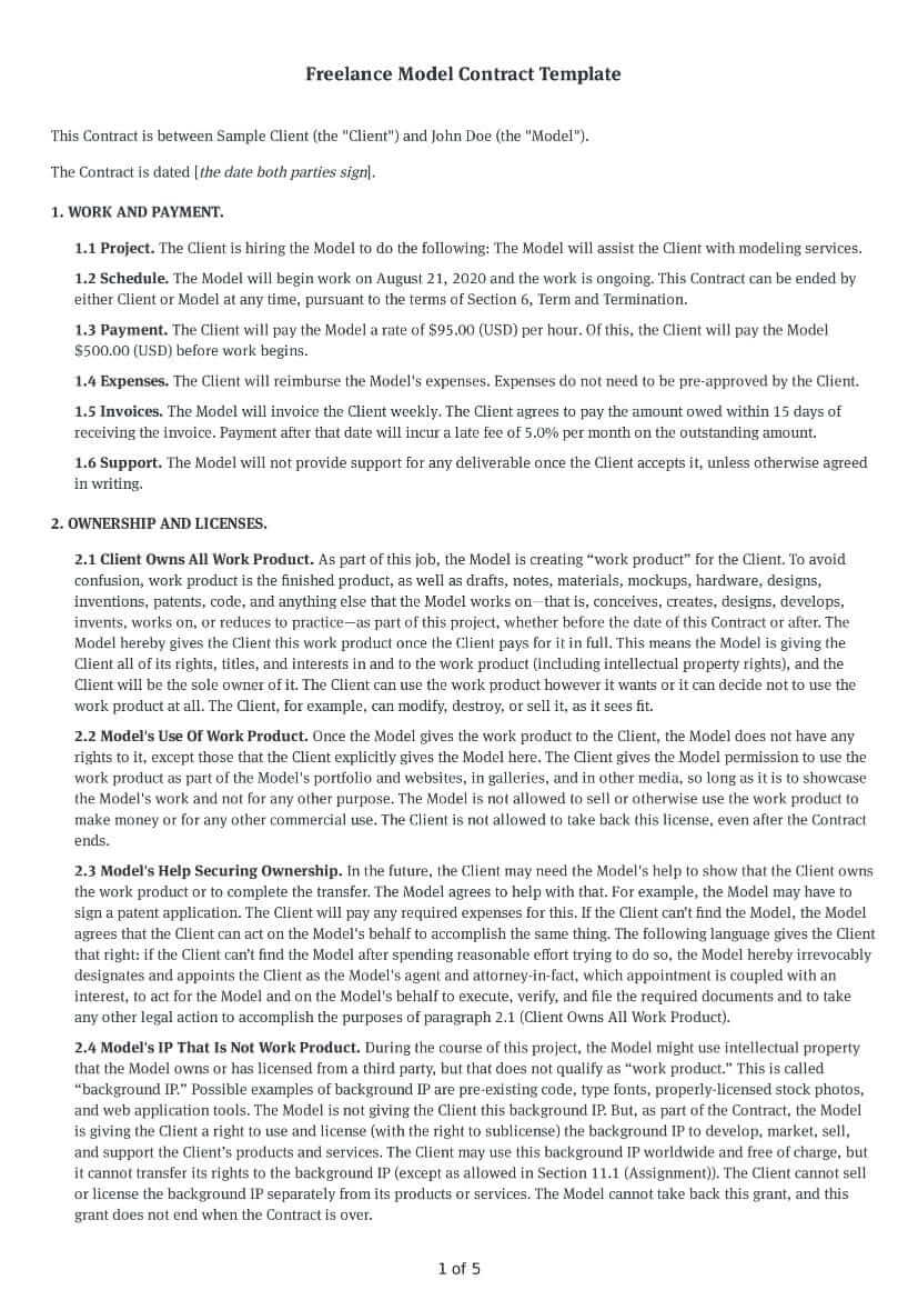 Freelance Model Contract Template