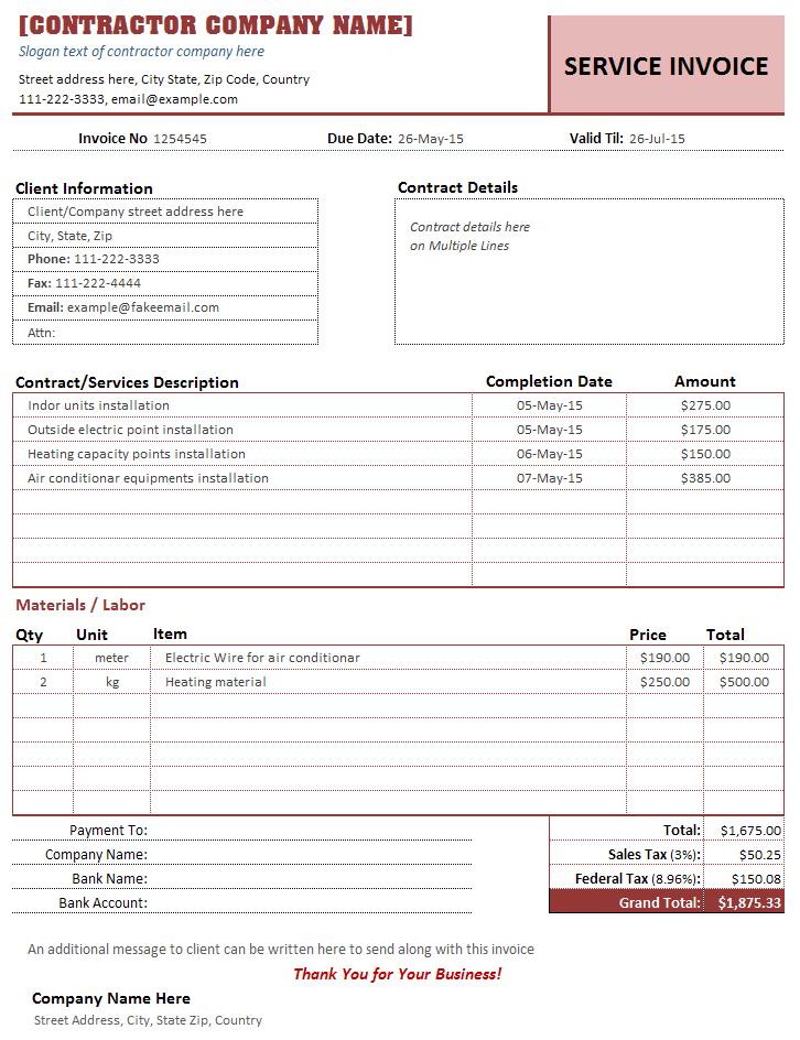 Contractor Invoice Template Sample