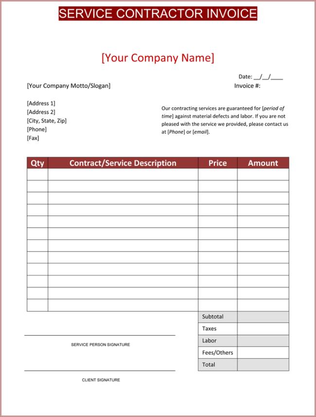 Contractor Invoice Template Sample PDF