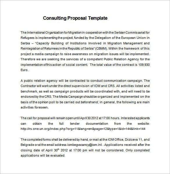 Consultant Proposal Template Google Docs