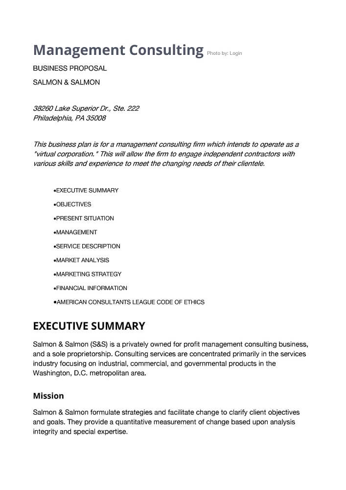 Business Consultant Proposal Sample