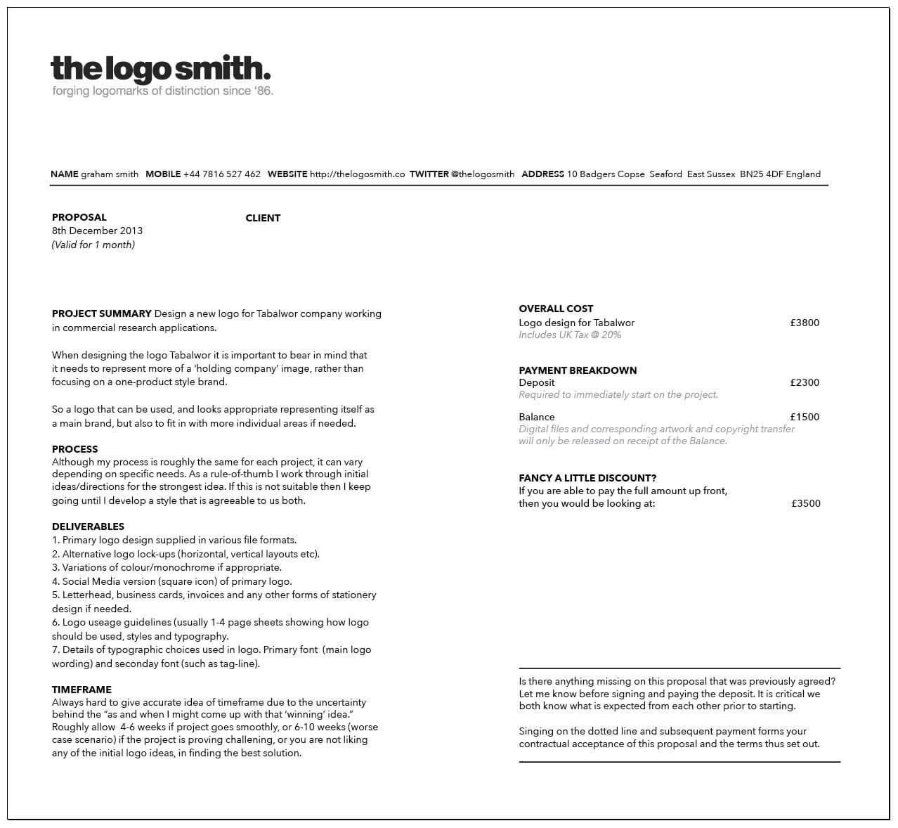 Logo Design Proposal Template PDF