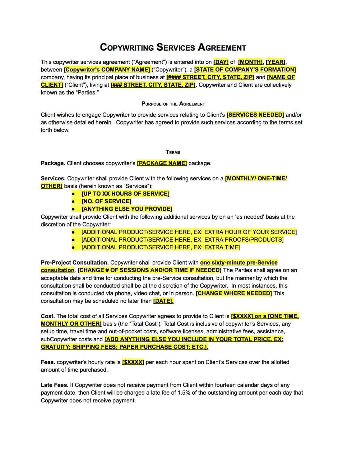 Copywriter Contract Template Sample