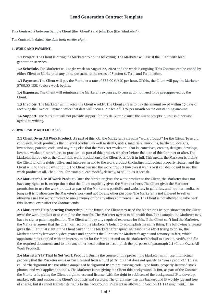 Lead Generation Contract Template