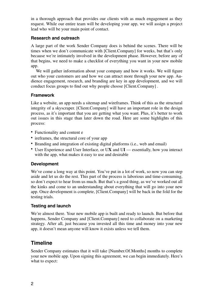 Mobile App Development Proposal Template Sample