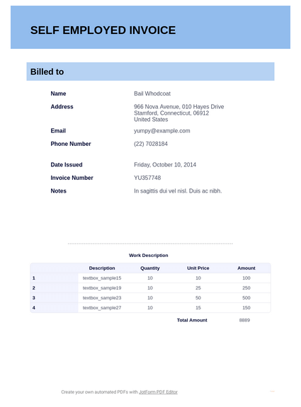 Self Employed Invoice Template