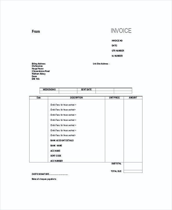Self Employed Invoice Template Example