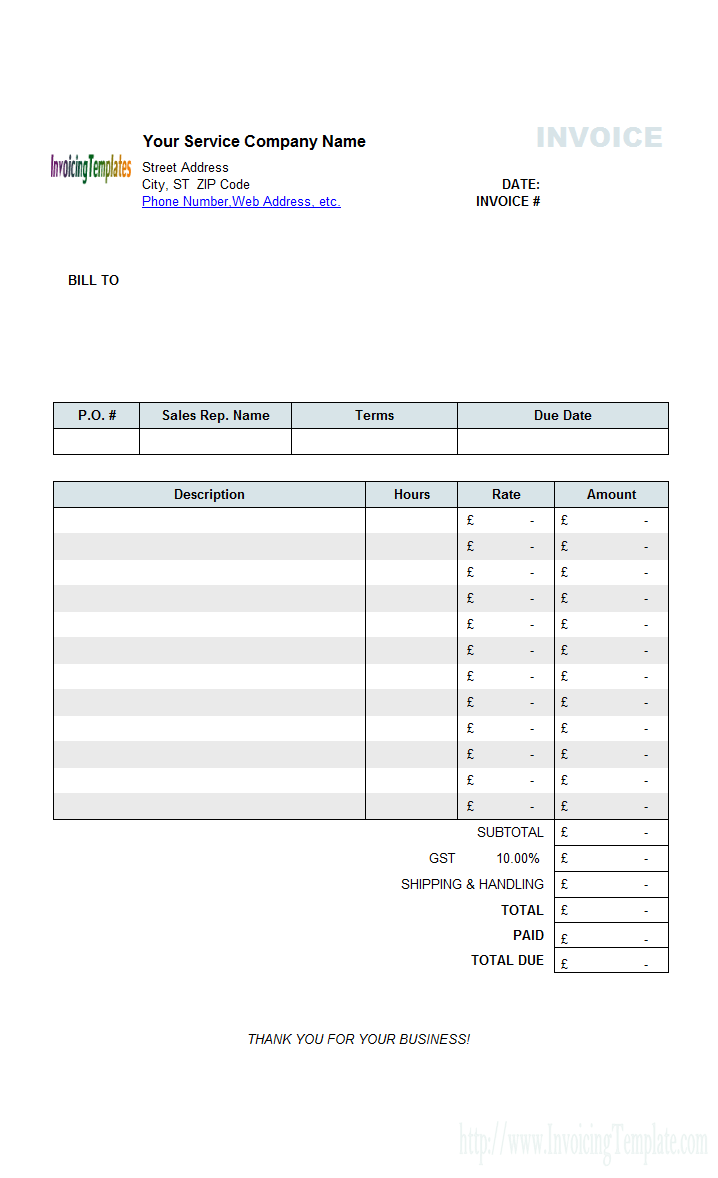 Self Employed Invoice Template PDF