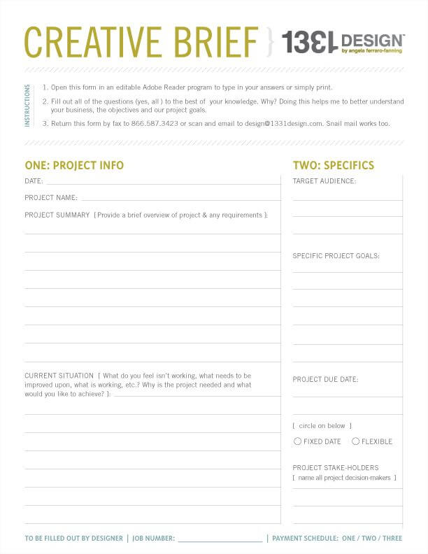 Web Design Brief Template Example