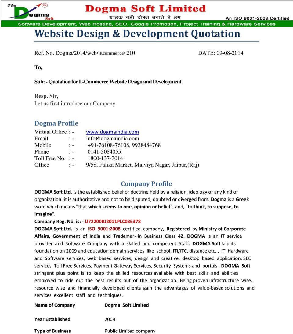 Software Development Quotation Template