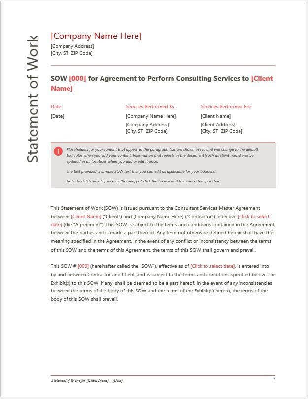 Consultant Statement of Work Template PDF