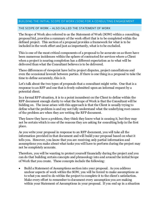 Consultant Statement of Work Template Sample PDF