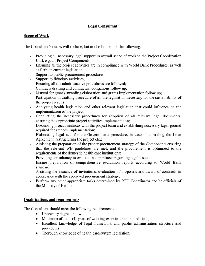 Consultant Statement of Work Template Example PDF