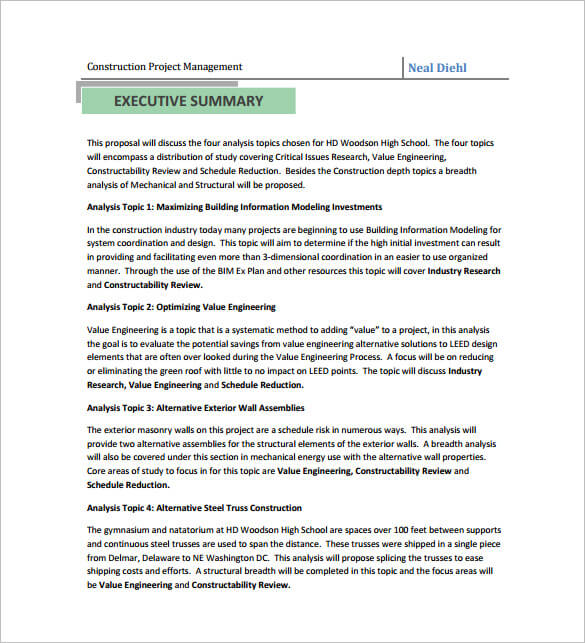 Project Management Proposal Template Example